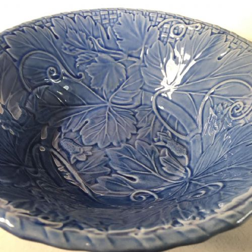 Blue Vine Leaf Fruit Bowl - Majolica - Bordallo Pinheiro - Portugal
